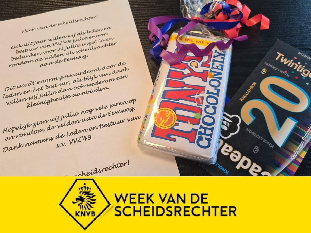 In de Week van de Scheidsrechter werden ook de Clubscheidsrechters van VVZ '49 in het zonnetje gezet.
