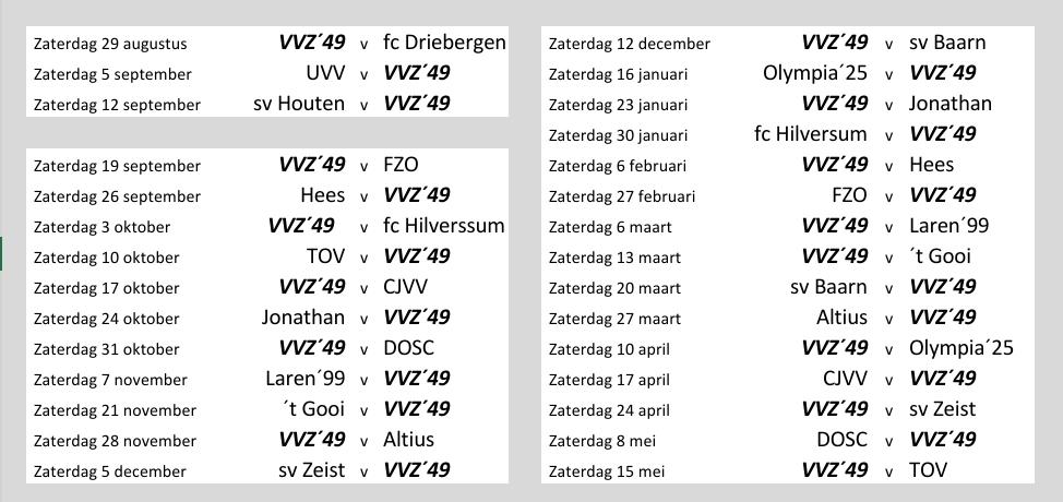 De Heeren van VVZ'49 zijn weer op weg. Eindelijk wordt er weer gevoetbald.